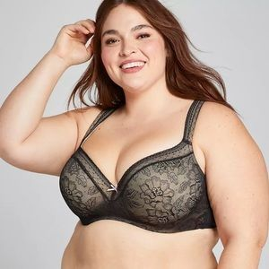 Cacique Lightly Lined Black/Lace Balconette Bra